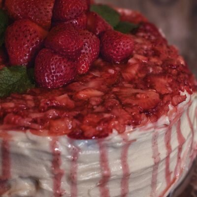 Chocolate Cake, Cream Cheese Icing & Cinnamon Strawberries! Oh, My!